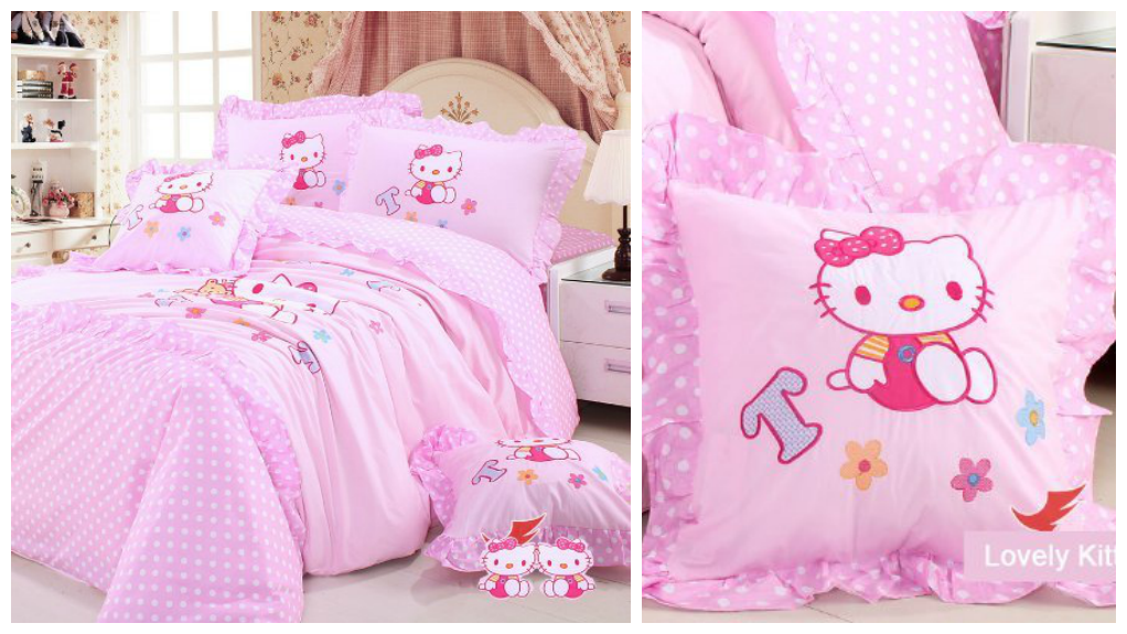 Baby Pink Hello Kitty Bed Set for Kids Room