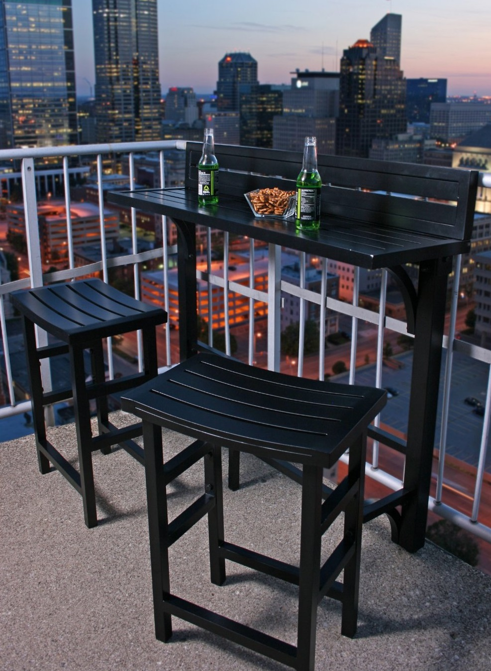 Black Balcony Bar Set for Terrace