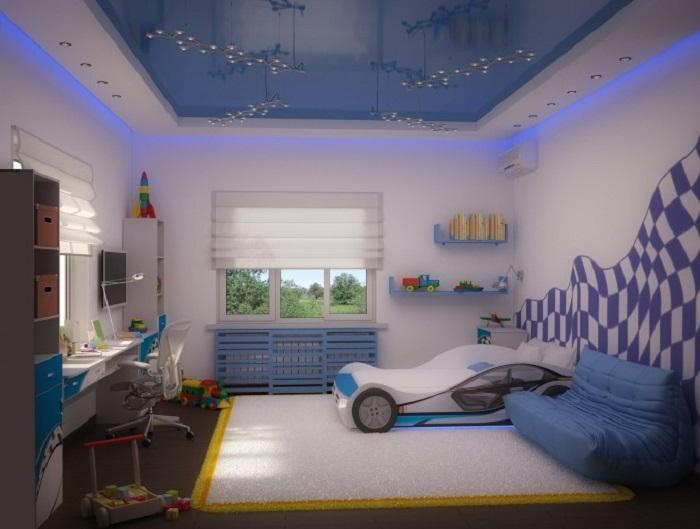 Blue Car Bed for Boy Kids Room