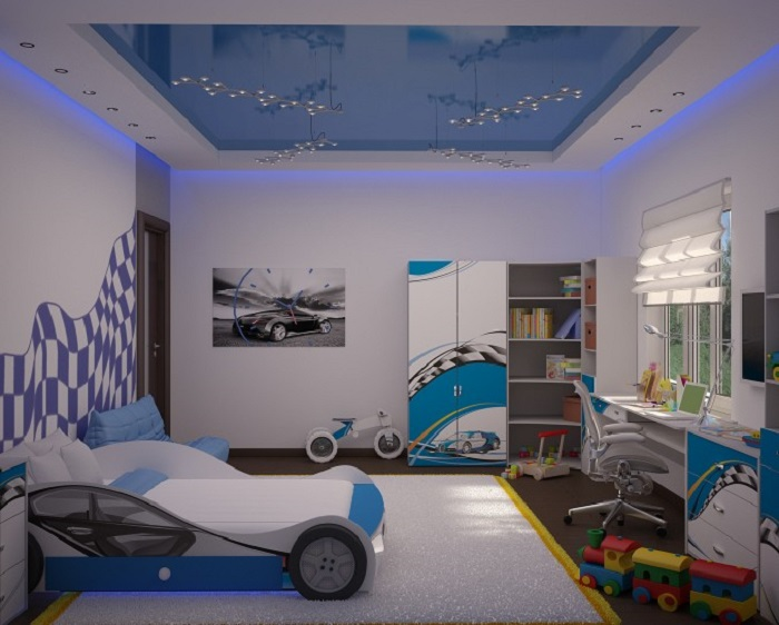 Blue Car Shaped Bed for Boys