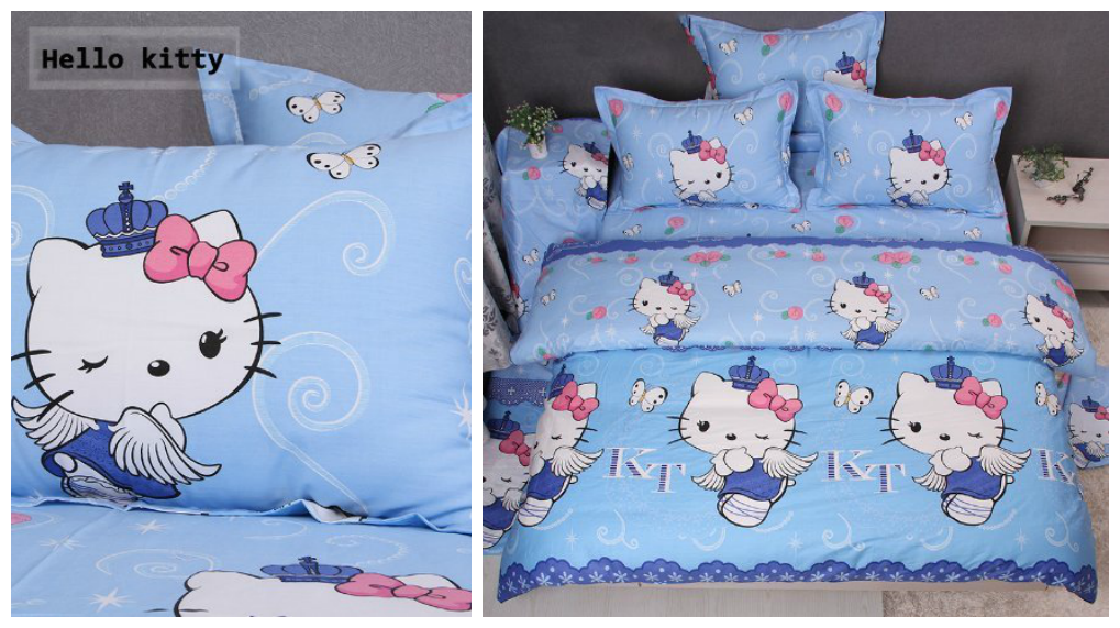 Blue Hello Kitty Bed Set
