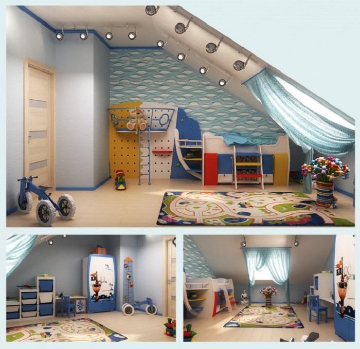 Blue Ship Themed Bedroom for Kids