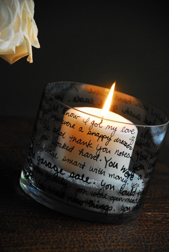 Candle with words for your Loved one