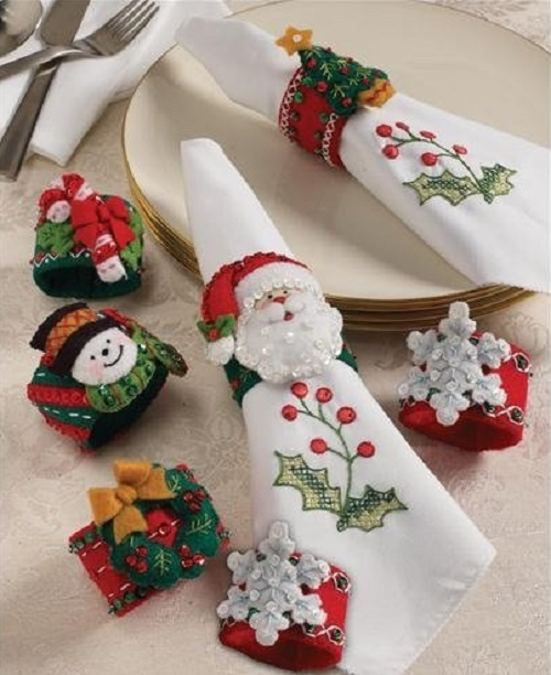 Christmas Napkin Rings Felt Applique Kit