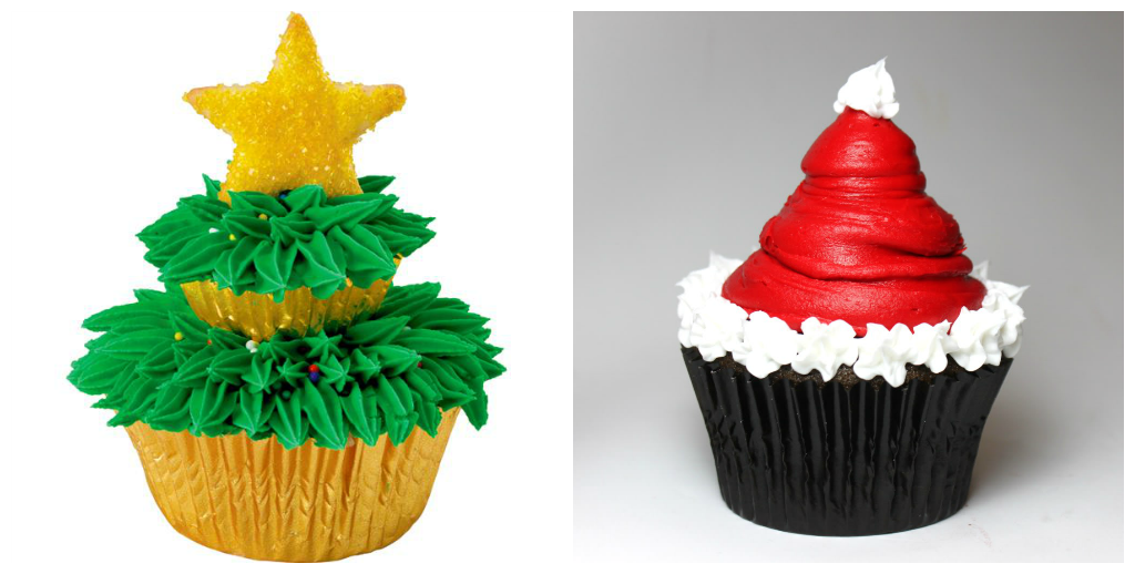 Christmas Tree & Santa Cup Cakes