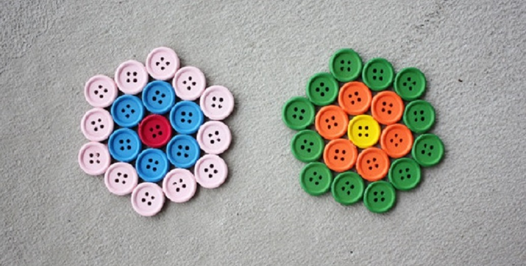 Make Colorful Button Coaster