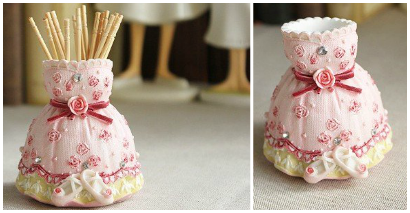 Creative toothpick holder dress model