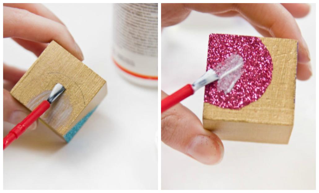 DIY Glue & Glitter Valentines Block Puzzle