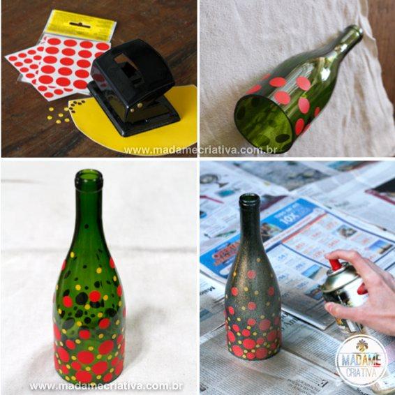 Decorating Wine Bottle as Candle Holder