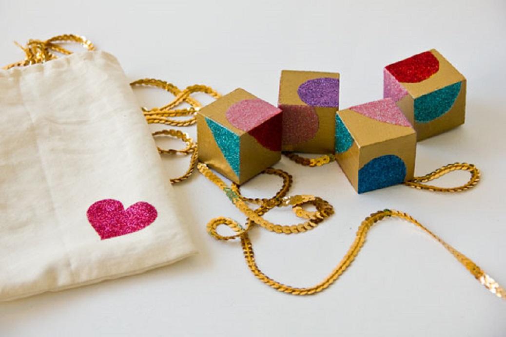 Glittery Valentines Gift Idea Block Puzzle