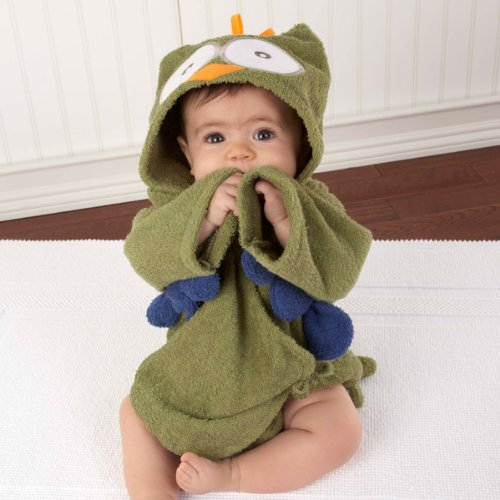 Green Owl Baby Boy Robe with Hood
