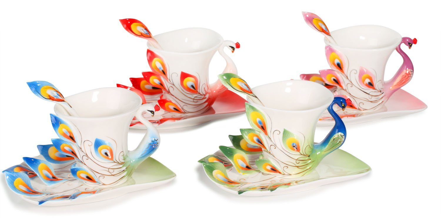 Hand Crafted Peacock Tea Coffee Cup Set