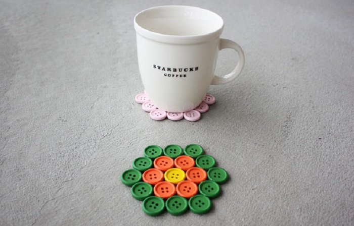 Handmade button coaster