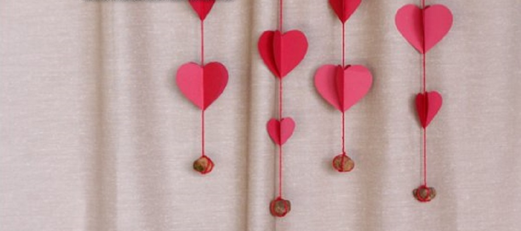 Romantic Hearts Paper Curtain