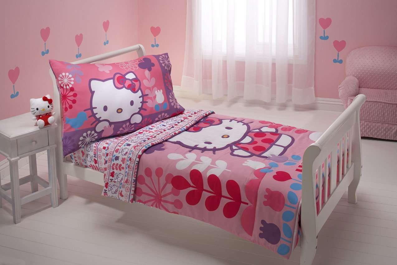 Pink hello kitty bedsheet - Hello Kitty Modern Garden Toddler Bedding Set