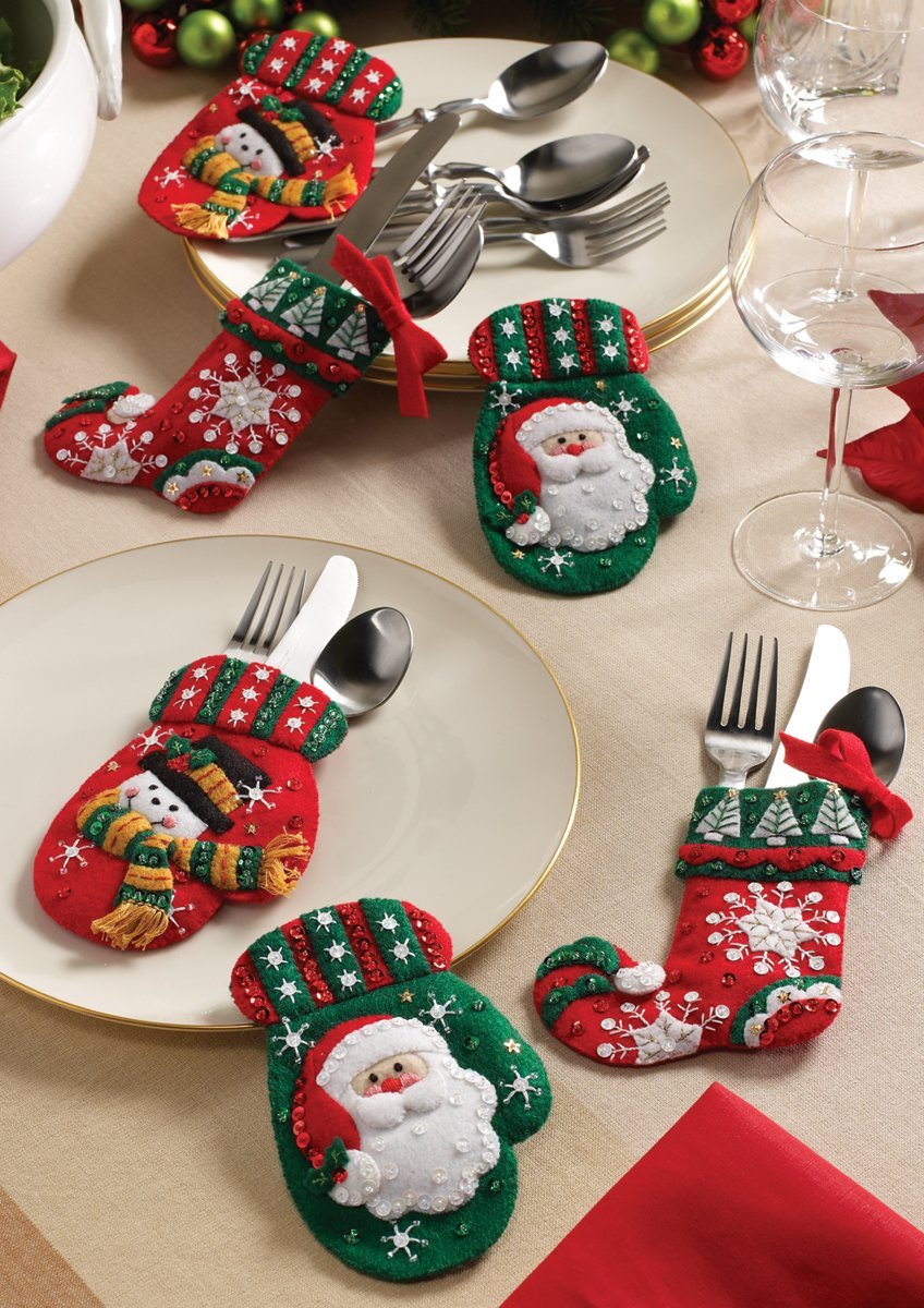 Mr and Mrs Claus Bucilla Silverware Holders