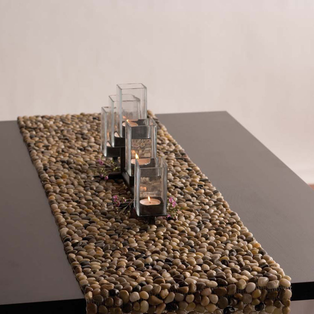 MultiColor Beach  Stone Table Runner