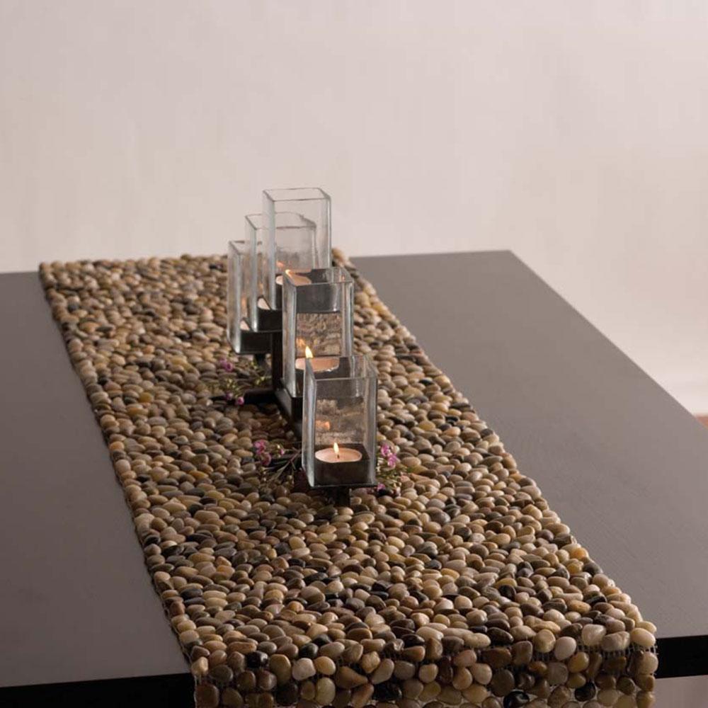 MultiColor Beach  Stone Table Runner
