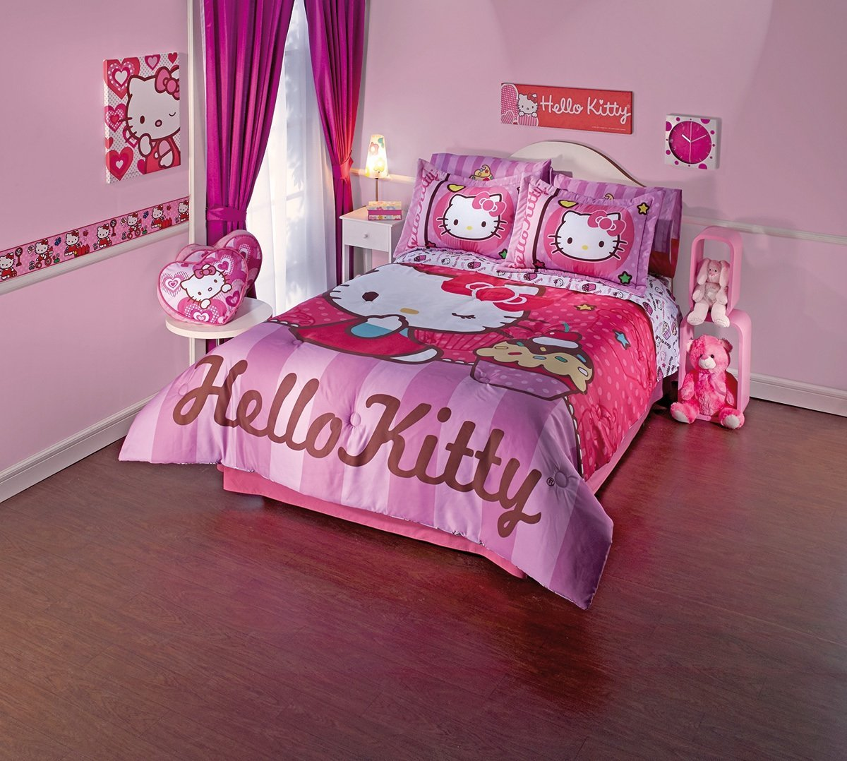 Pink hello kitty bedsheet - New Hello Kitty Comforter Sheet Set Full Size