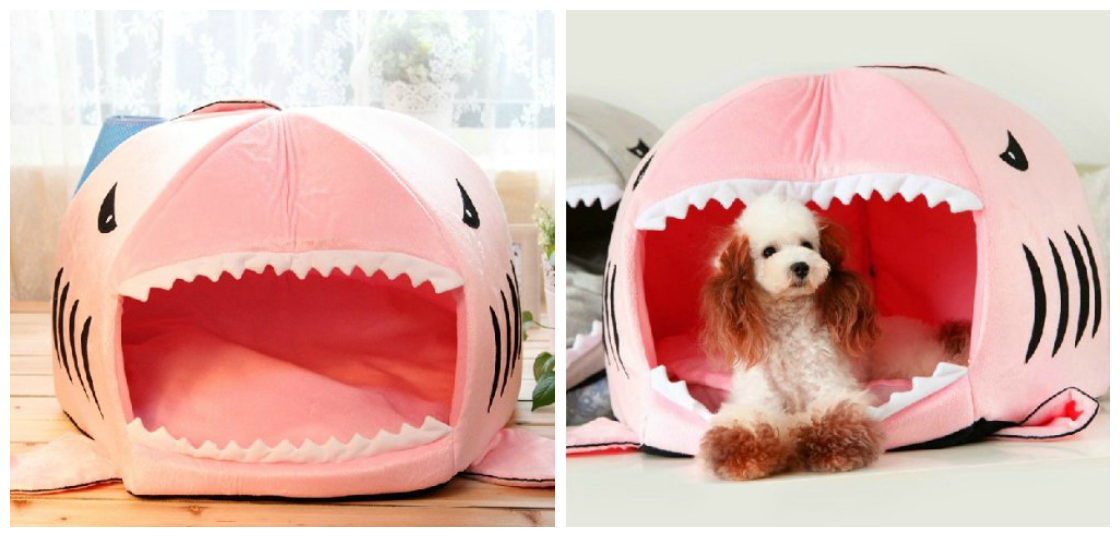 Pink Color Shark Round House Puppy Bed