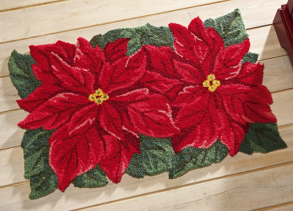 Red Floral Christmas Holiday Rug