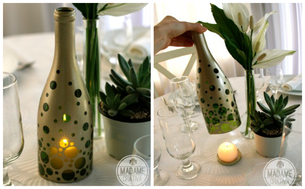 Beautiful wine bottle candle holder home designing for How to make candle holders out of wine bottles