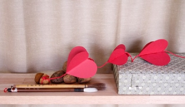 Romantic Curtain of Paper Hearts