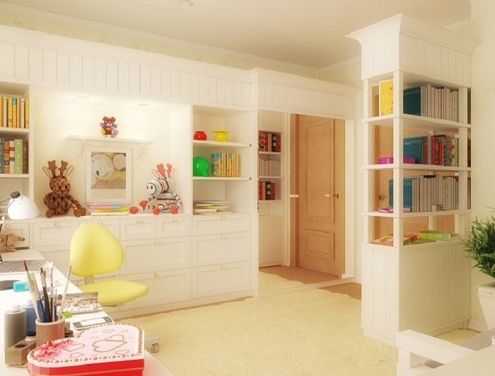 Study area with book shelf in Kids Room