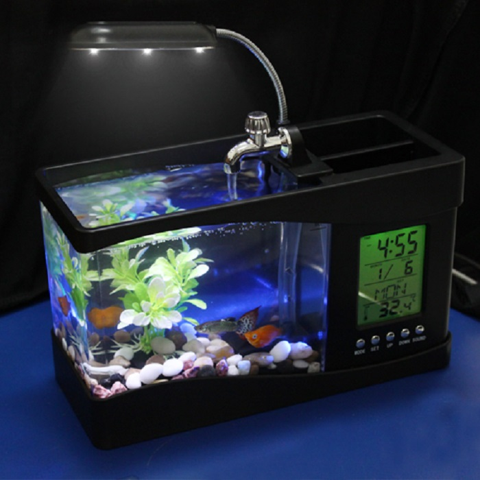 Portable usb desktop fish aquarium desk organizer home for Desktop fish tank