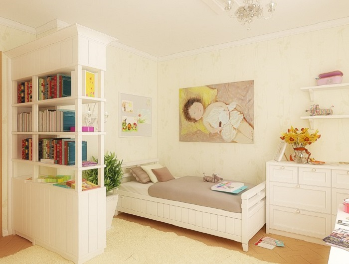 White Kids room with wall Painting