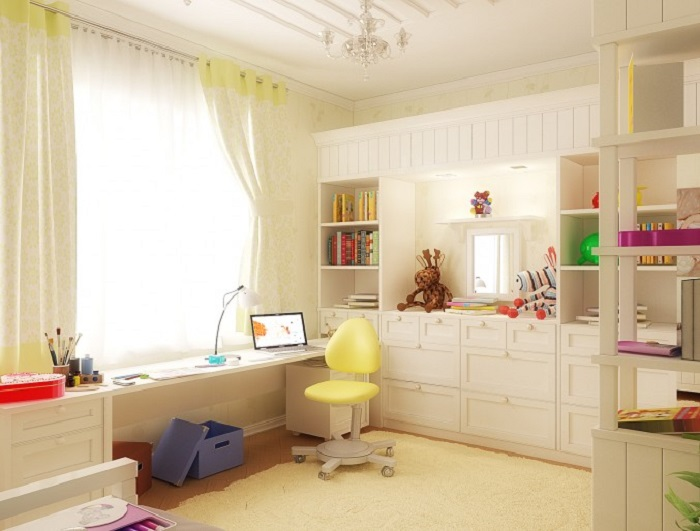 White and Yellow Study Area in Kids room