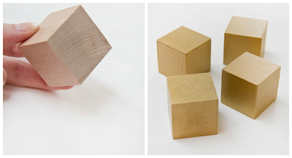 Wooden Cubes to make Valentines Block Puzzle