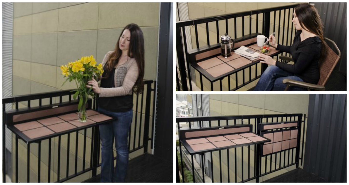 Wooden Foldable Balcony Table for Small Spaces