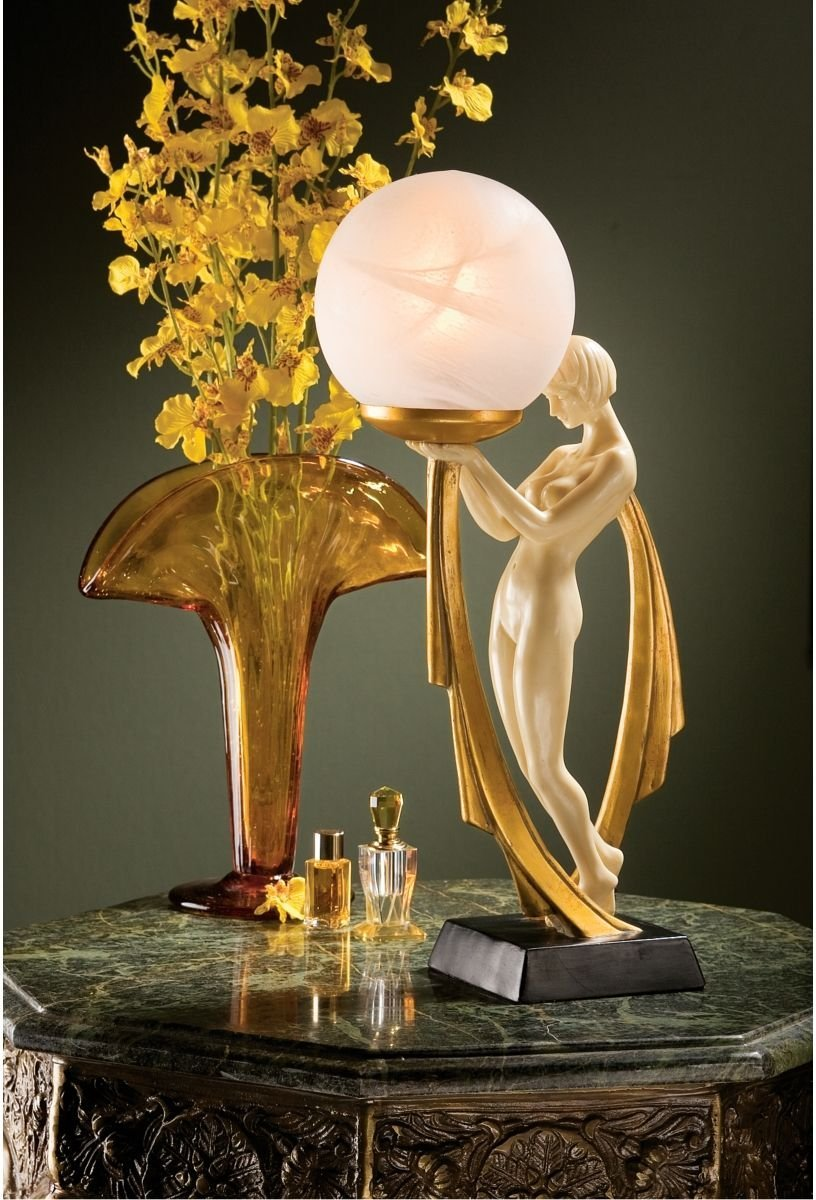 Beautiful table lamps for living room home designing for Art deco style lamp
