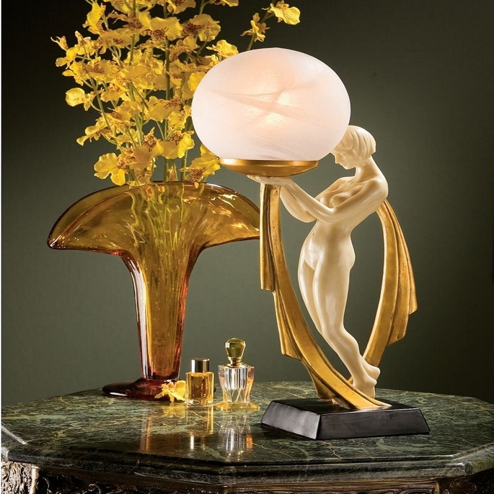 Art Deco Lighted Sculpture Table Lamp