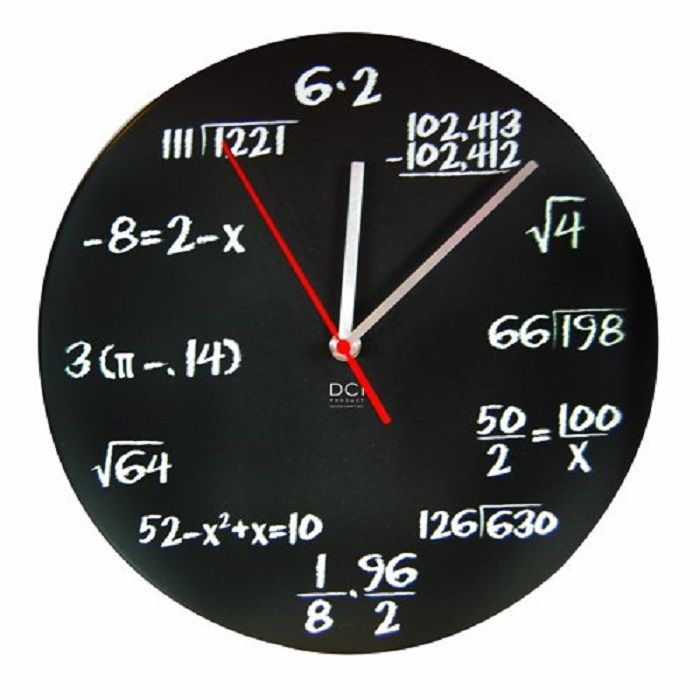 Black Powder Coated Metal Mathematics Blackboard Pop Quiz Clock