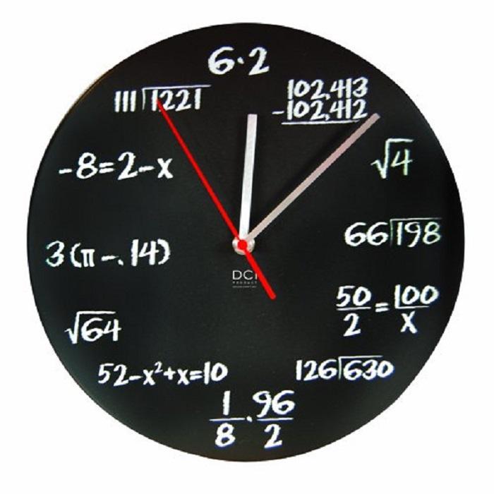 Black Powder Coated Metal Mathematics Blackboard Pop Quiz Clock