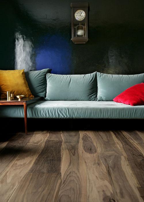 Glossy Walnut Wooden Flooring in Living room Apartment