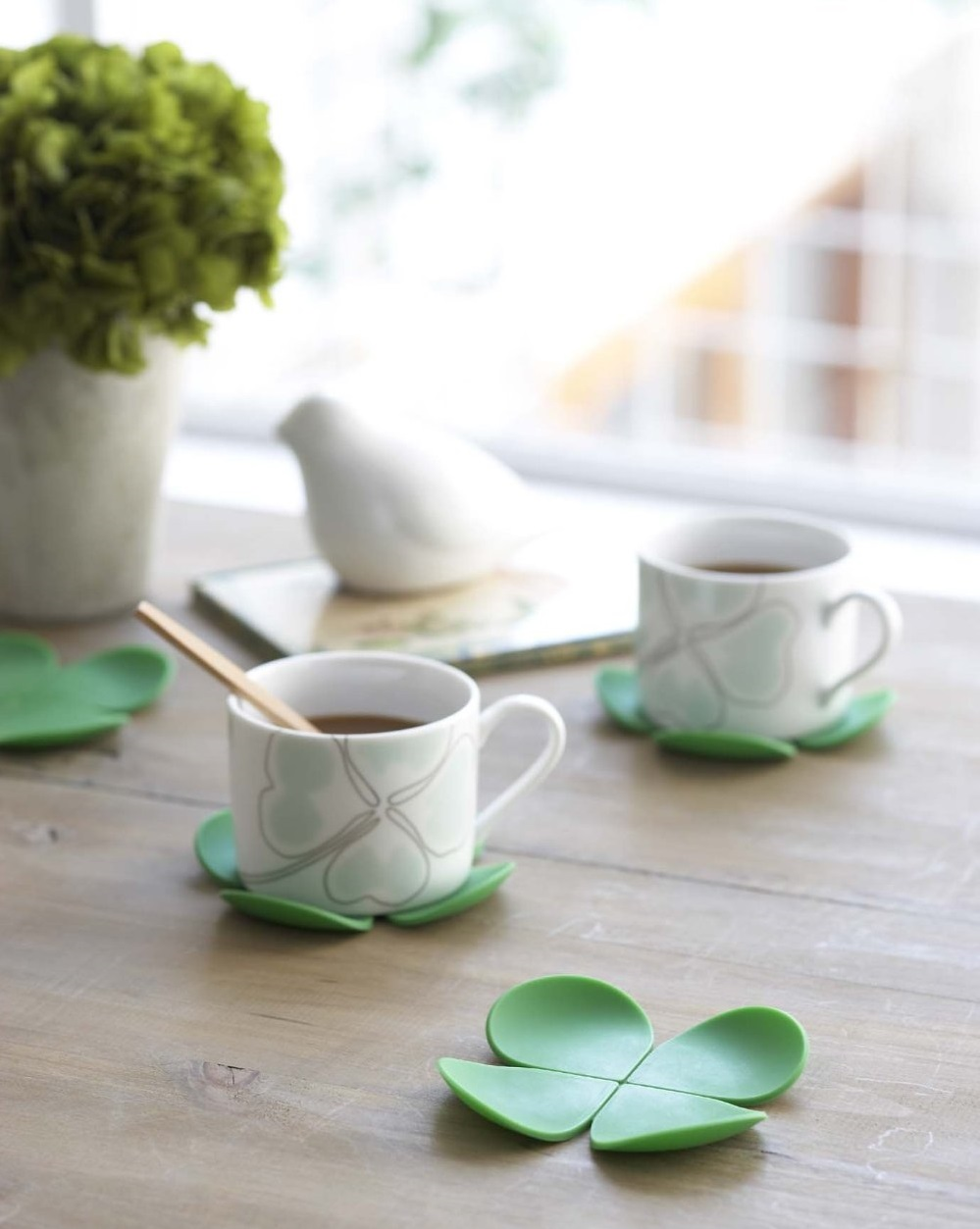 Green Flower Shaped Coaster