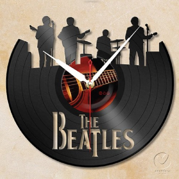 Handmade Beatles Band Vinyl Wall Clock