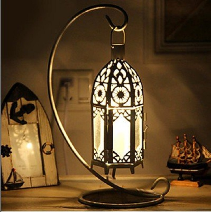 Hollow Table Lamp with Iron Shade