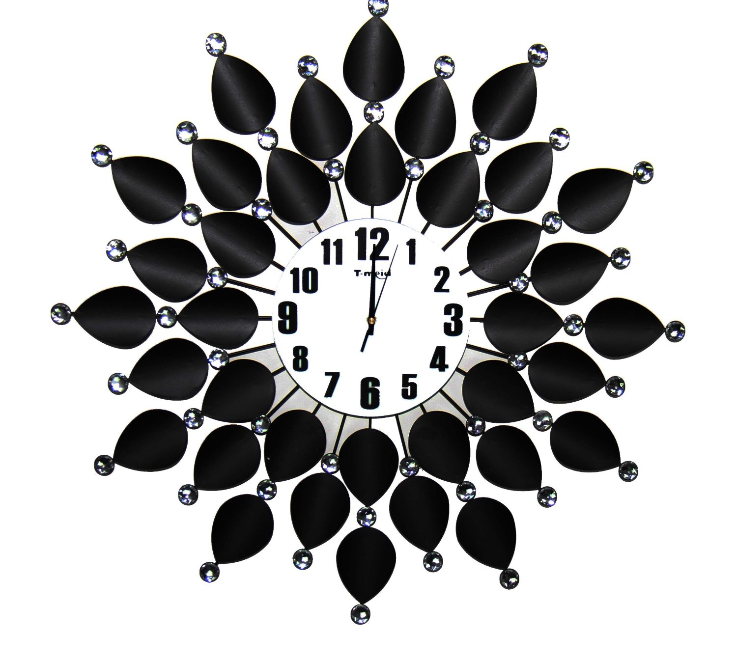 Large Jewel Leaf Clock Black & White
