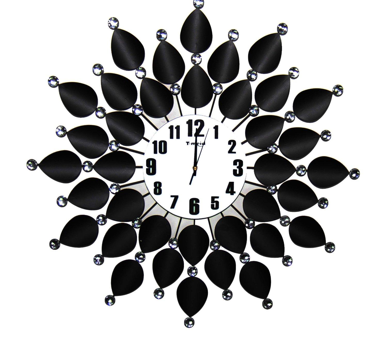 Large Jewel Leaf Clock Black & White