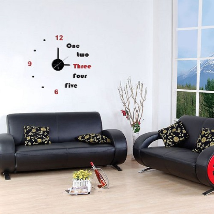 Modern Home Self Adhesive DIY 3D Wall Clock