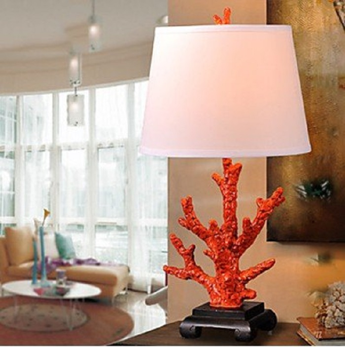 Modern Red Coral Table Lamp