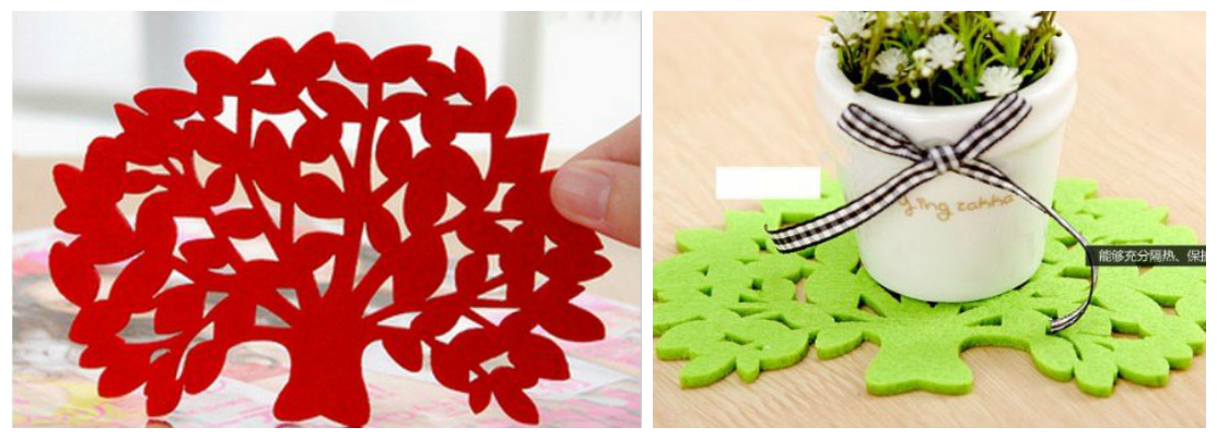 Multi Color Tree Shape Flat Coaster
