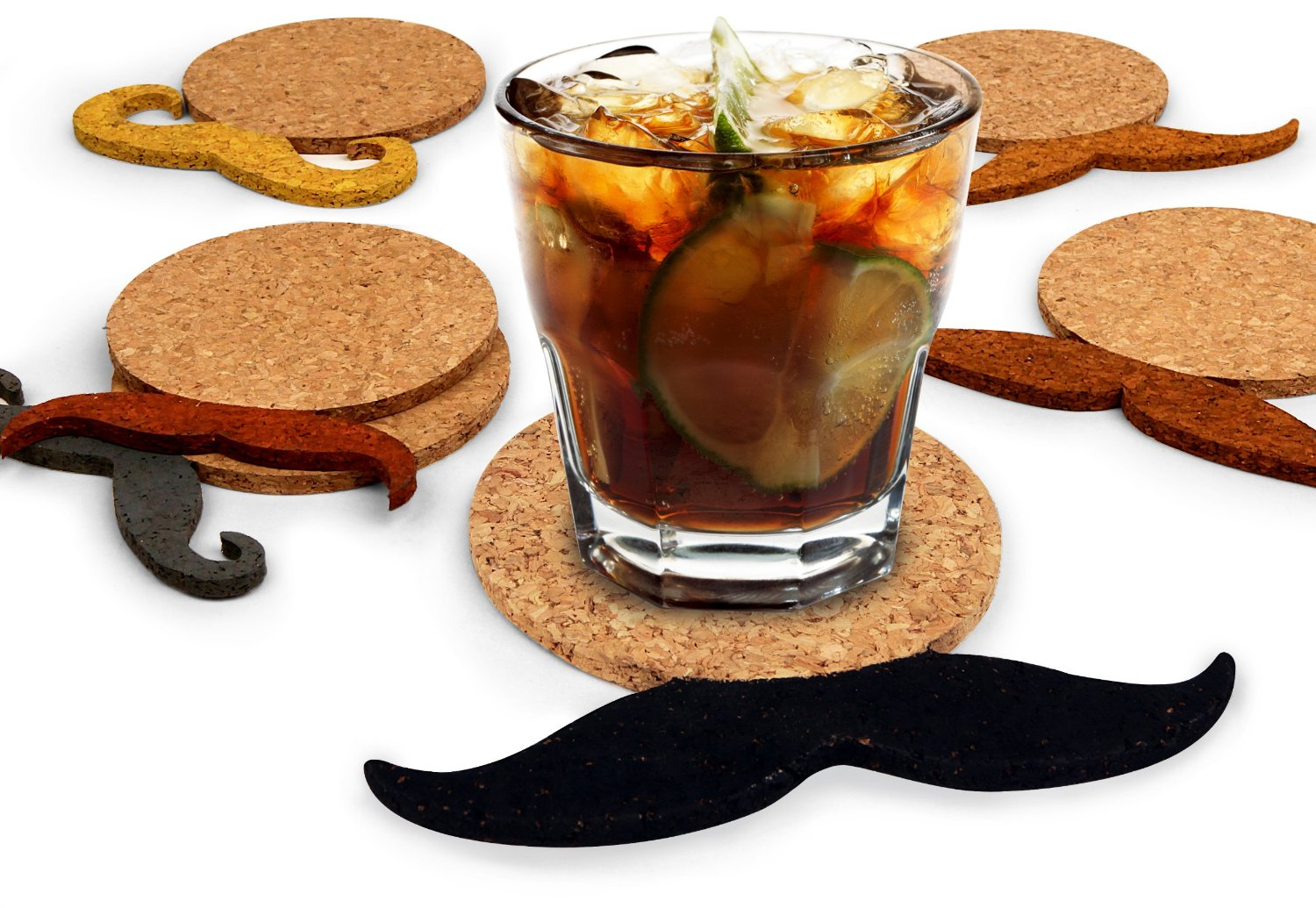 Mustache Pattern Cork Coaster