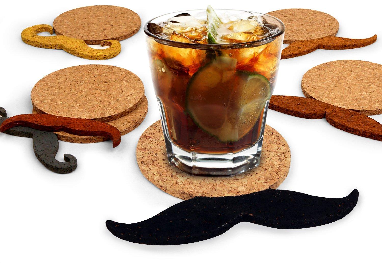 Mustache Pattern Cork Coaster