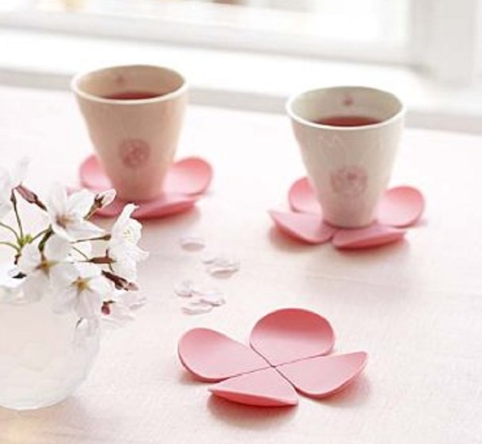 Pink Flower Shaped Coaster