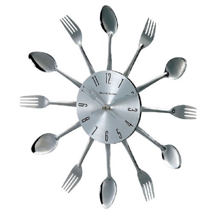 Spoon Fork Clock Silver